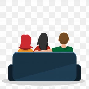Cartoon Family Sit On The Sofa Watching TV - Cartoon Television Sitting PNG