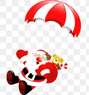 Vector Parachute - Santa Claus Santas Workshop Clip Art PNG