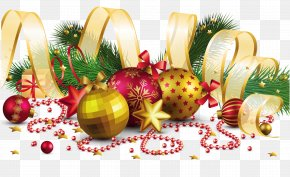 Transparent Christmas Decoration With Gold Bow Picture - Christmas Decoration Christmas Ornament PNG