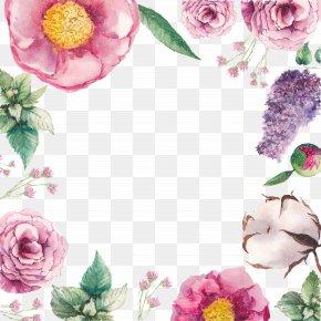 Flowers Texture Borders - Greeting Card Birthday Flower Wish Postcard PNG