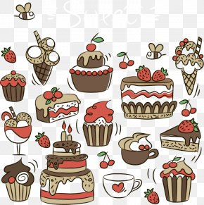 Dessert Cake - Ice Cream Cupcake Birthday Cake Bakery Petit Four PNG