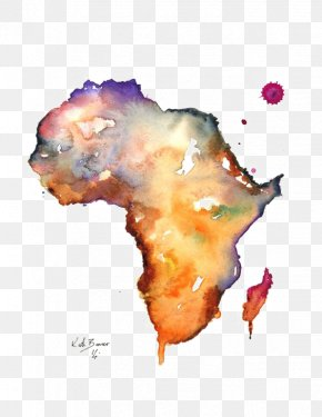 Map Of Africa - The Continent Of Africa Map Watercolor Painting PNG