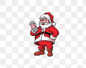 Santa Claus Holding A Barbell - Santa Claus Weight Training Olympic Weightlifting Dumbbell Physical Exercise PNG