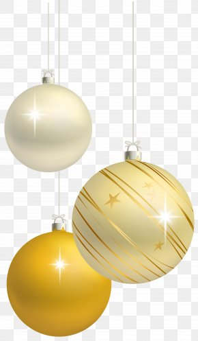 White And Yellow Christmas Balls Decoration Clipart Image - Christmas Ornament Clip Art PNG