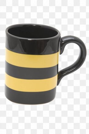 Yellow Black Striped Drinking Cup - Cup Yellow Glass PNG