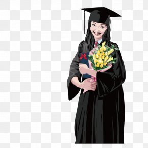 Holding Flowers Graduated Female Students - Adobe Illustrator Euclidean Vector Clip Art PNG