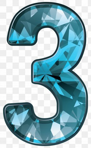 Blue Crystal Number Three Clipart Image - Number Clip Art PNG