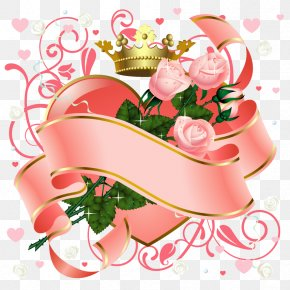 Pink Rose And Crown Heart Vector - Love Flower Heart Valentines Day Wallpaper PNG