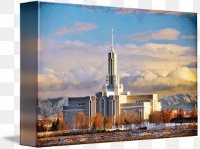 Temple Lamp - Mount Timpanogos Utah Temple Gallery Wrap Canvas Light Art PNG