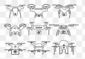 Flat UAV - Black And White Flat Design PNG