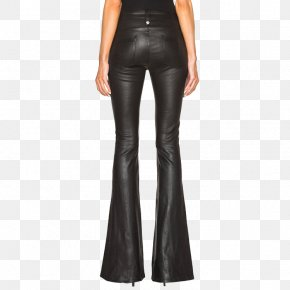 Lady Black Horn Leather Pants - Women And Trousers Bell-bottoms Leather Clothing PNG