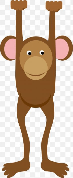 Hand Painted Brown Monkey - Cartoon Monkey Clip Art PNG