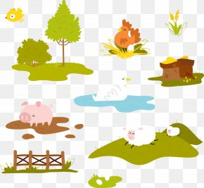 Vector Hand-drawn Cartoon Farm - Farm Clip Art PNG