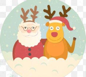 Flat Santa With Elk - Santa Claus Reindeer Christmas New Years Day PNG