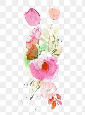 Watercolor Flowers - Rose Cut Flowers Flower Bouquet Flora PNG