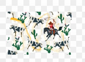 Herdsmen And Cows - Cattle Textile Illustration PNG