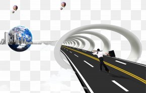 Business People Running On The Road - Template Business Advertising PNG