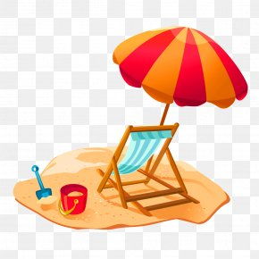 Cartoon Beach Recliner Umbrella Decorative Pattern - Beach Cartoon PNG