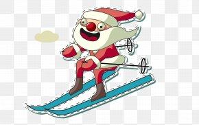 Santa Ski - Santa Claus Christmas Gift Clip Art PNG