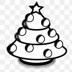 Christmas Tree Line Drawing - Santa Claus Christmas Tree Black And White Clip Art PNG