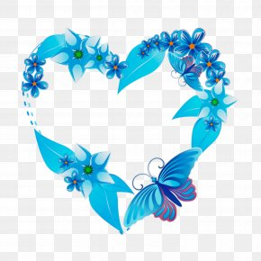 Flower Butterfly - Blue Turquoise Heart Aqua Font PNG