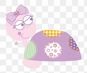 Vector Lovely Purple Turtle - Polka Dot Textile Bib Pink PNG
