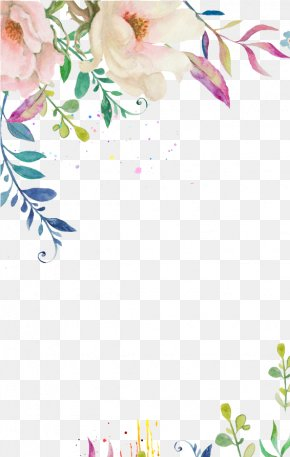 Purple Watercolor Flowers Wedding Invitation - Watercolor Painting Flower Clip Art PNG