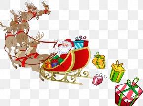 Sleigh HD - Santa Claus Rudolph Reindeer Sled Clip Art PNG