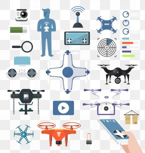 Flat UAV - Airplane Unmanned Aerial Vehicle Flat Design Icon PNG