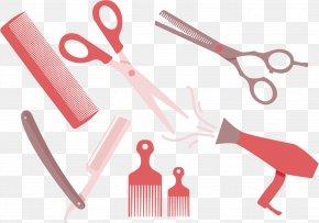 Vector Pink Hair Comb Scissors - Comb Euclidean Vector Hairdresser Scissors PNG