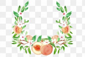 Watercolor Tree - Peach Watercolor Painting Drawing Fruit Clip Art PNG
