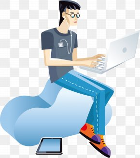 The Man Sitting On The Clouds - Cloud Computing Data Download PNG