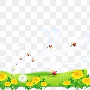 Cute Little Ladybug And Flower Vector Material - Motif Painting Cartoon PNG