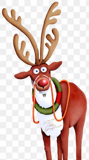 Reindeer - Rudolph Reindeer Santa Claus Candy Cane Christmas PNG