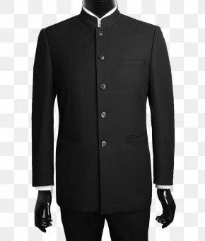 Black Suit - Mao Suit Mandarin Collar Jacket PNG