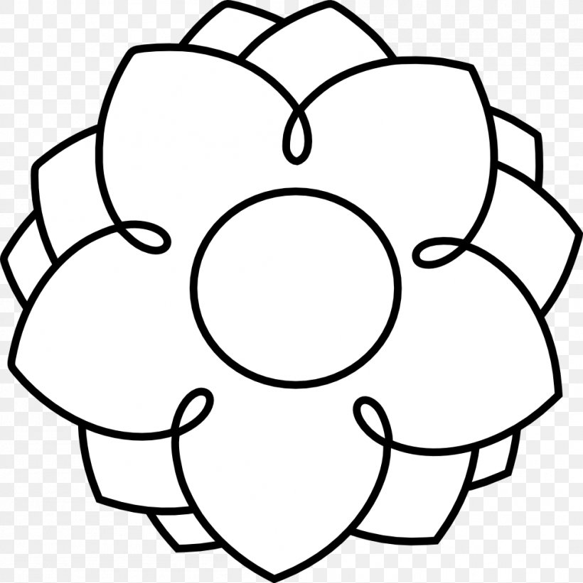 Flower Black And White Clip Art, PNG, 999x1001px, Flower, Area, Black, Black And White, Color Download Free