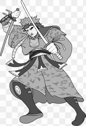 Japanese Ninja Bodyguard Warrior Black And White Picture - Black And White Samurai Ninja Illustration PNG