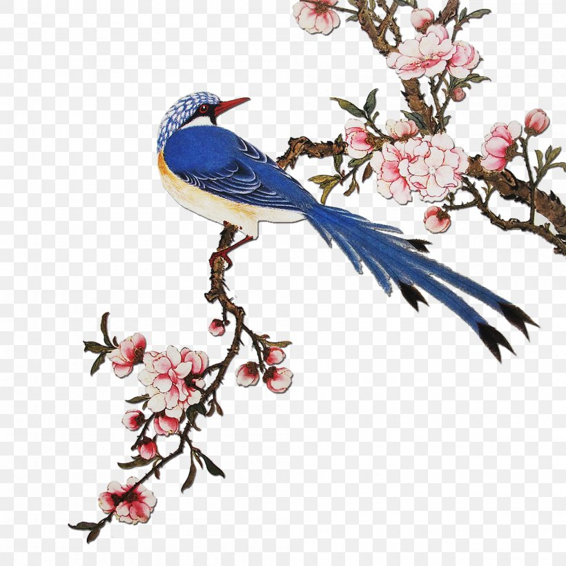 China Flowering Peach Trees Paper Painting, PNG, 2000x2000px, Flowering Peach Trees, Art, Beak, Bird, Bird And Flower Painting Download Free