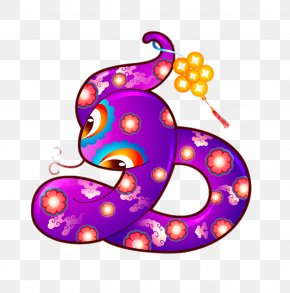 Purple Cartoon Snake - Snake Chinese Zodiac Chinese New Year Fortune-telling Ox PNG