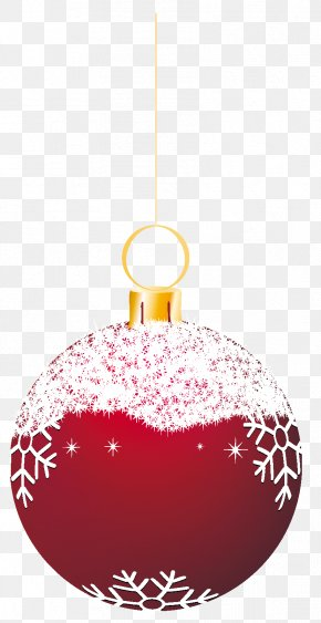 Transparent Red Snowy Christmas Ball Ornament Clipart - Christmas Ornament Christmas Decoration Santa Claus Clip Art PNG