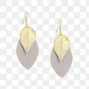 Gold Leaf Earrings - Earring Gold Leaf PNG