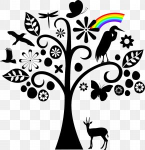 Trees And Animals Abstract Wind - Tree Silhouette Black And White PNG