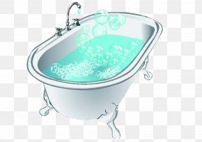 Hand-painted Bathtub Bubbles - Bathtub Bathroom Shower Clip Art PNG