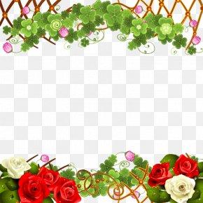Rose Border - Paper Rosa Chinensis Flower Garden Roses PNG