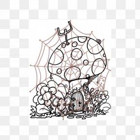 Mushroom Houses - Sketch Line Art Illustration Visual Arts Cartoon PNG