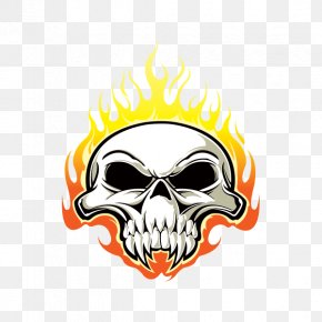 Flame Skull Pursuit - Skull And Crossbones Drawing Death Sticker PNG
