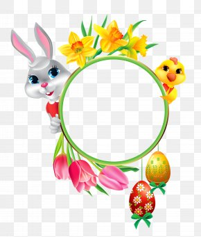 Easter Bunny And Chicken With Round Frame Transparent Clipart - Easter Bunny Easter Egg Clip Art PNG