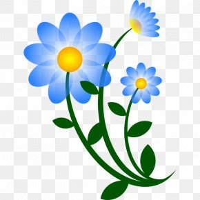 Blue Flower Clip - Flower Free Content Blog Clip Art PNG