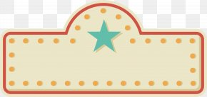 Blue Five Pointed Star Decorated Neon Title Box - Adobe Illustrator ArtWorks PNG