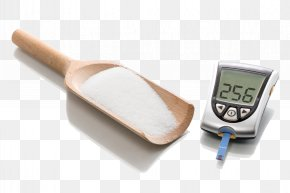 A Wooden Spoon In Sugar And Blood Glucose Meter - Blood Sugar Glucose Meter PNG